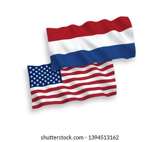 National vector fabric wave flags of Netherlands and USA isolated on white background. 1 to 2 proportion.