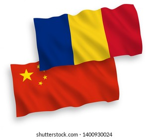 National vector fabric wave flags of Romania and China isolated on white background 1 to 2 proportion.