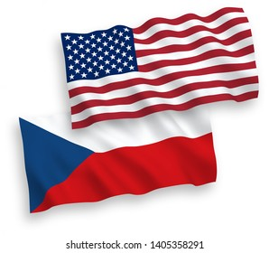 National vector fabric wave flags of Czech Republic and USA isolated on white background. 1 to 2 proportion.