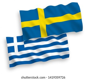 National vector fabric wave flags of Greece and Sweden isolated on white background. 1 to 2 proportion.