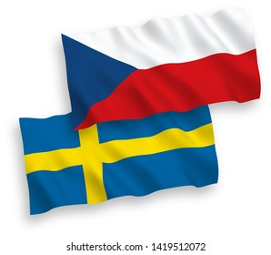 National vector fabric wave flags of Czech Republic and Sweden isolated on white background. 1 to 2 proportion.