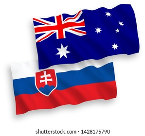 National vector fabric wave flags of Australia and Slovakia isolated on white background. 1 to 2 proportion.