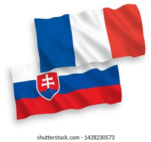 National vector fabric wave flags of France and Slovakia isolated on white background. 1 to 2 proportion.