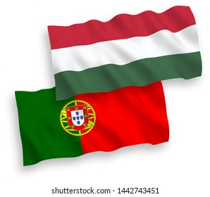 National vector fabric wave flags of Portugal and Hungary isolated on white background. 1 to 2 proportion.