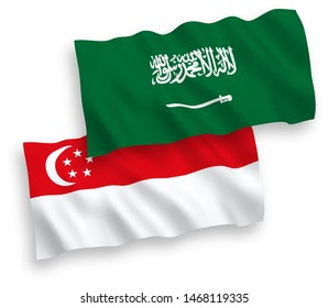 National vector fabric wave flags of Saudi Arabia and Singapore isolated on white background. 1 to 2 proportion.