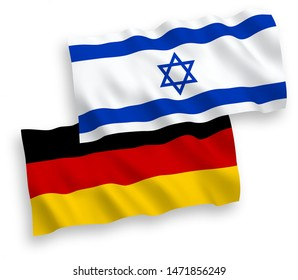 National vector fabric wave flags of Germany and Israel isolated on white background. 1 to 2 proportion.