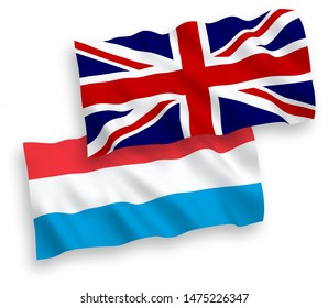 National vector fabric wave flags of Great Britain and Luxembourg isolated on white background. 1 to 2 proportion.