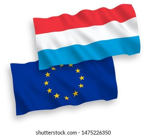National vector fabric wave flags of European Union and Luxembourg isolated on white background. 1 to 2 proportion.