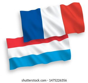National vector fabric wave flags of France and Luxembourg isolated on white background. 1 to 2 proportion.