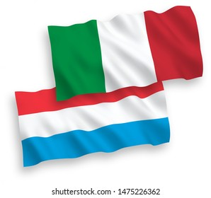 National vector fabric wave flags of Italy and Luxembourg isolated on white background. 1 to 2 proportion.
