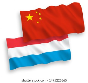 National vector fabric wave flags of Luxembourg and China isolated on white background 1 to 2 proportion.