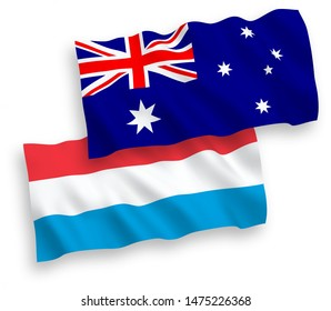 National vector fabric wave flags of Australia and Luxembourg isolated on white background. 1 to 2 proportion.