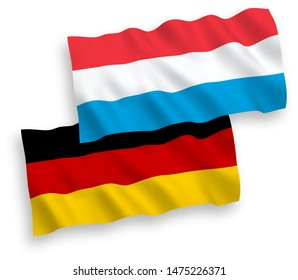 National vector fabric wave flags of Germany and Luxembourg isolated on white background. 1 to 2 proportion.