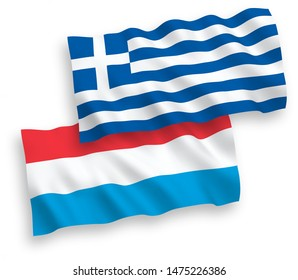 National vector fabric wave flags of Greece and Luxembourg isolated on white background. 1 to 2 proportion.