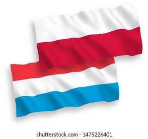 National vector fabric wave flags of Luxembourg and Poland isolated on white background. 1 to 2 proportion.