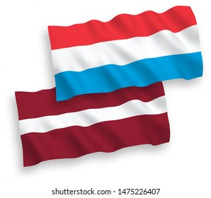 National vector fabric wave flags of Latvia and Luxembourg isolated on white background. 1 to 2 proportion.
