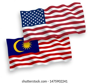 National vector fabric wave flags of Malaysia and USA isolated on white background. 1 to 2 proportion.