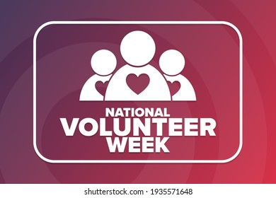 National Volunteer Week. Holiday concept. Template for background, banner, card, poster with text inscription. Vector EPS10 illustration