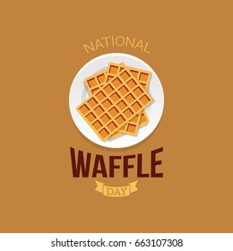 National Waffle Day Vector Illustration