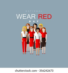 National wear red day. Vector flat illustration of women community wearing red clothes