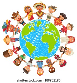 Nationalities. Different culture standing together holding hands. Unity children from around the world. Vector illustration. Isolated on white background. Earth day. Set