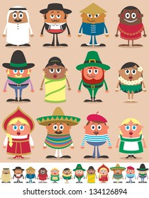 Nationalities Part 1: Set of 12 characters dressed in different national costumes. Each character is in 2 color versions depending on the background. No transparency and gradients used.