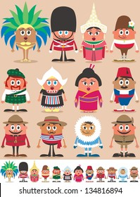Nationalities Part 2: Set of 12 characters dressed in different national costumes. Each character is in 2 color versions depending on the background. No transparency and gradients used.