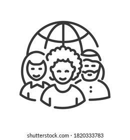 Nationality concept - vector line design single isolated icon. Social issues, equal rights idea. High quality black pictogram. International team and a globe. People of different ethnicity concept