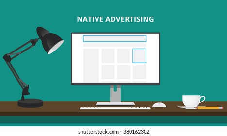 native advertising concept with advertise place in website computer vector illustration
