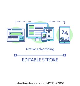 Native advertising concept icon. Paid ads idea thin line illustration. Social media feeds, recommended content, web page. Vector isolated outline drawing. Editable stroke