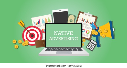 native advertising concept with marketing media and tools illustrated in laptop