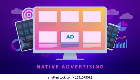Native Werbung, Digital Marketing Business Concept Illustration. Programmübergreifende Ausrichtung der Online-Werbestrategie. Werbemedienbanner-Block, der gut in das Webdesign integriert ist