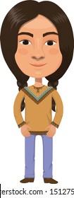 Native American Boy Cartoon Character