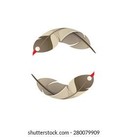 Native american eagle bird feather, vector design vector template.