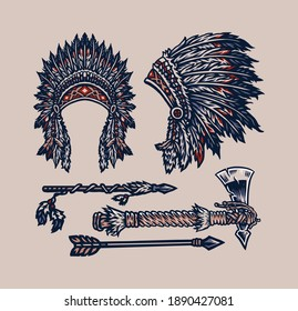 Native American elements, hand drawn line style with digital color, vector illustration