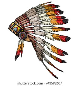 Native american feather chief headdress vector. Indian headdress of feathers illustration.