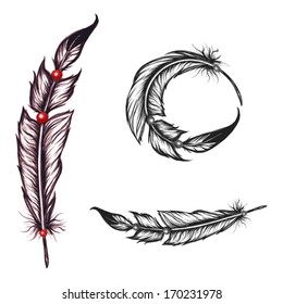 native american feathers set