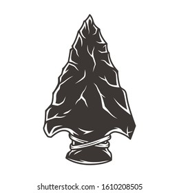 Native american flint arrowhead vintage concept in monochrome style isolated vector illustration