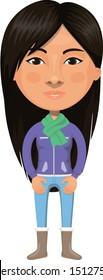 Native American Girl Cartoon Character Illustration