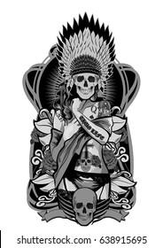 Native American girl with skulls headdress. Vector illustration.