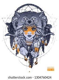 Native American girl with Wolf headdress. Hand drawn vector illustration. Can be used for creating logo, posters, flyers, emblem, prints, tattoo, web