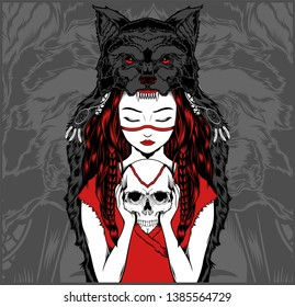 Native American girl with Wolf headdress handling skull -vector