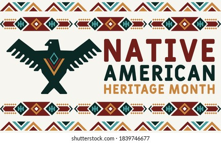 Native American Heritage Month is an annual designation observed in November. Poster, card, banner, background design. Vector EPS 10.