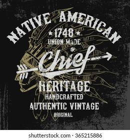 Native american illustration, vintage typography