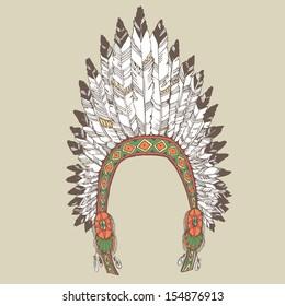 Native american indian chief headdress. Vector illustration.