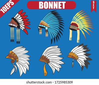 Native American Indian chief headdress. Vector Illustration Isolated on blue background.