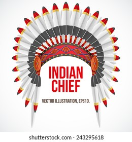Native American Indian chief headdress with plumage. Front view. Vector Illustration Isolated on white background.