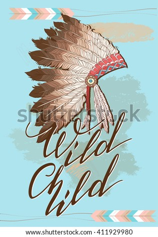 Native American Indian Chief Headdress Quote Stock Vector Royalty