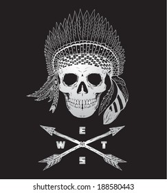 Native american indian chief vector. Skull illustration.T shirt graphic.