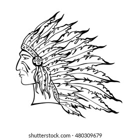 Native American Indian chief in war bonnet. Hand drawn sketch. Warrior in tribal plume headdress. Black and white. Vector illustration.